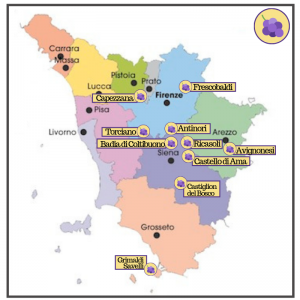 Map best wineries in Tuscany